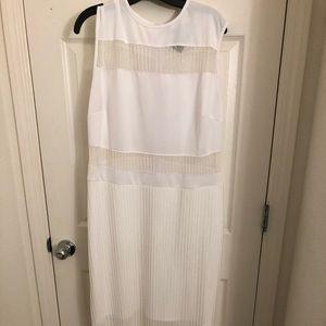 Ashley Stewart White Dress with Mesh Panels